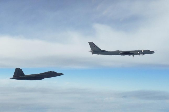 "Two NORAD F-22 ""Raptor"" fighter jets positively identified and intercepted two Russian Tu-95 ""Bear"" bombers at approximately 10 p.m. EDT Tuesday, Sept. 11, 2018. Photo courtesy of North American Aerospace Defense Command and U.S. Northern Command"