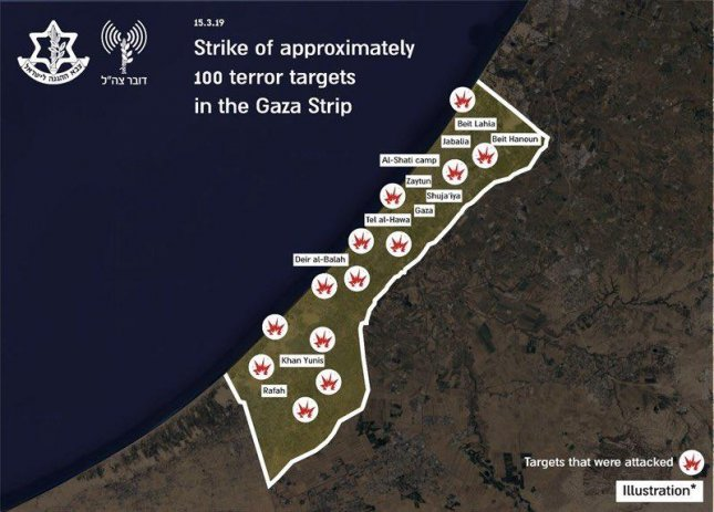 Israel strikes about 100 Hamas targets in Gaza Strip