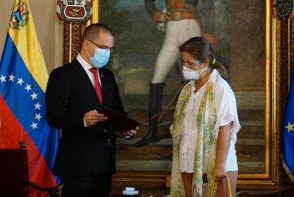 The European Union on Thursday expelled Venezuela's ambassador to the bloc in retaliation to Foreign Minister Jorge Arreaza (L) giving Isabel Brilhante Pedrosa (R), the EU's ambassador to the South American nation, 24 hours to leave the country. Photo courtesy of Venezuela Ministry of Foreign Affairs/Twitter