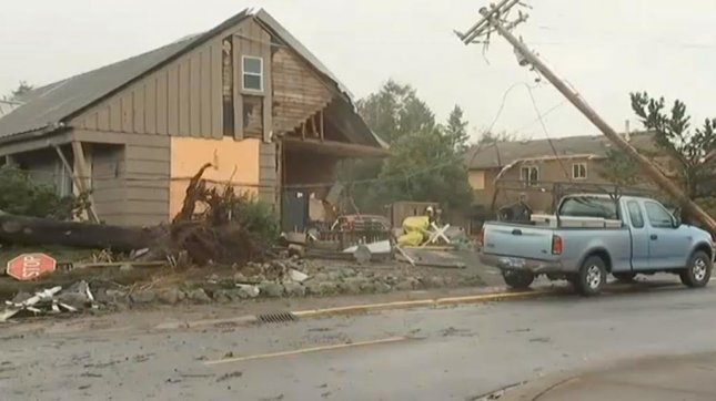 The Pacific Northwest began bracing for an oncoming thunderstorm after two tornadoes struck the area on Friday including one in Manzanita, Oregon, which damaged 25-30 homes. Saturday's storm is expected to bring at least an inch of rain to some areas and winds as strong as 90 mph along the coast.  Screen capture/KPTV/Inform Inc.