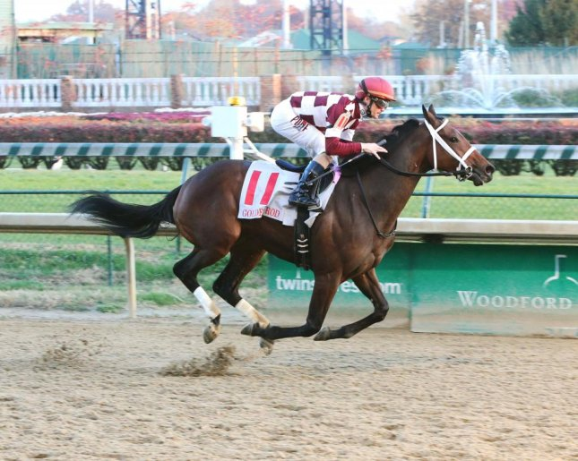Farrell, seen winning last year's Golden Rod at Churchill Downs, is the likely favorite in Saturday's Grade II Fair Grounds Oaks in New Orleans. (Churchill Downs photo)