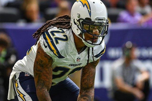 Injured Los Angeles Chargers cornerback Jason Verrett (22) is still not cleared to fully practice. Photo courtesy of Los Angeles Chargers/Twitter