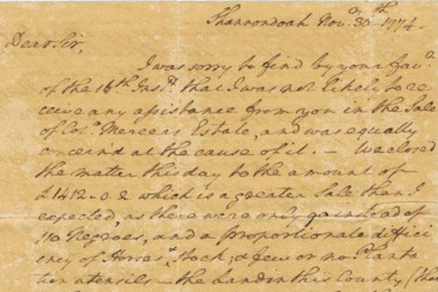 A signed letter from George Washington dated Nov. 30, 1774, details the auctioning of 90 slaves and the settling of an estate. It is among the items to be auctioned off by Cohasco, Inc. Photo by Cohasco Inc.