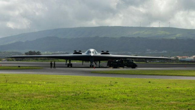 A B-2 bomber refueled at Lajes Field, Azores, before traveling to the Arctic Circle for exercises with the Norwegian Air Force this weekend. Photo by TSgt. Heather Salazar/U.S. Air Force