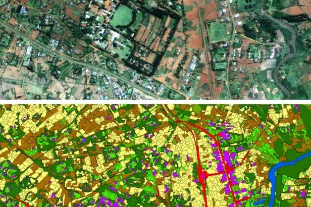 Researchers used satellite images to track household economic living conditions among small farms in rural Kenya. Photo by Gary Watmough