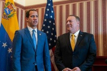 Interim Venezuelan president Juan Guaido (L) and U.S. Secretary of State Mike Pompeo met for the first time Monday in Bogota, Colombia. Photo courtesy of U.S. Secretary of State Mike Pompe
