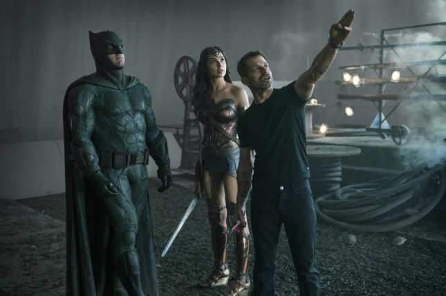 Zack Snyder (R) directs Ben Affleck and Gal Gadot in Justice League. Photo courtesy of HBO Max