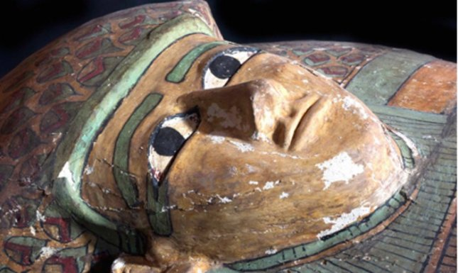 The preserved wooden sarcophagus dates back to 1600 B.C., when the Pharaonic 17th Dynasty reigned in Egypt Credit: Egypt's Supreme Council Of Antiquities