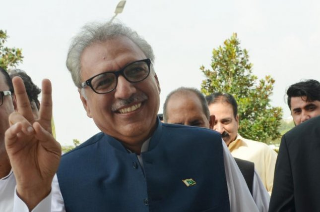 Pakistani President Arif Alvi, shown here after elections in 2018, Sunday pledged mutual support with China as tensions between Pakistan and India remains high. Photo by T. Mughal/EPA-EFE