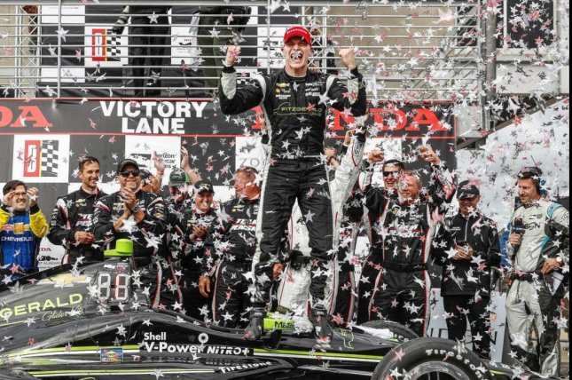 Josef Newgarden celebrates winning the Grand Prix of Alabama, just his third race with Team Penske. Photo courtesy Team Chevy via Twitter