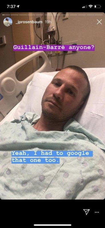 Bachelorette couple J.P. Rosenbaum and Ashley Hebert shared Rosenbaum's diagnosis with Guillain-Barré syndrome. Photo via _jprosenbaum/Instagram Stories