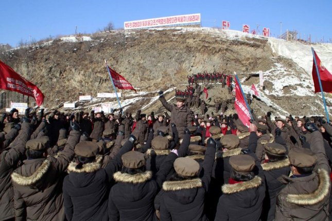 North Korean workers gathered at Mount Paektu power station. The infrastructure is showing signs of damage, according to satellite images that were analyzed in South Korea. File Photo by DPRK Today