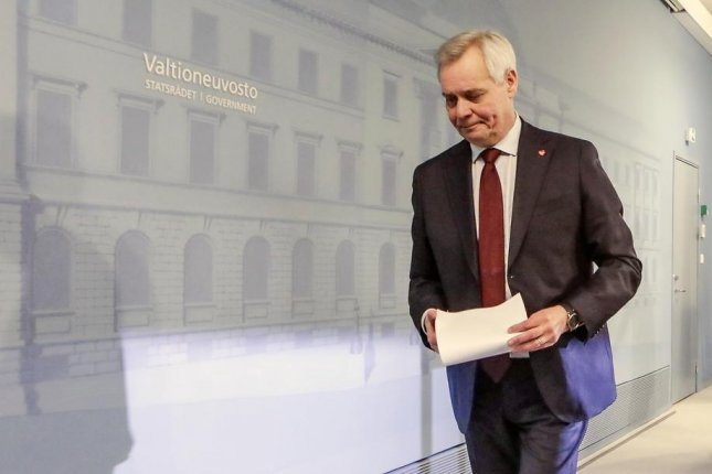 Finnish Prime Minister Antti Rinne leaves a press conference after handing in his letter of resignation to Finnish President Sauli Niinisto in Helsinki Tuesday. Photo by Pekka Sipola/EPA-EFE