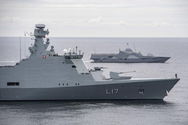 The Royal Danish Navy Absalon-class support ship HDMS Esbern Snare (L17), front, and the Swedish Royal Navy Visby-class corvette HMS Karlstad (K35) sail in formation in the Baltic Sea during exercise Baltic Operations (BALTOPS) 2020, June 15, 2020. BALTOPS is the premier annual maritime-focused exercise in the Baltic Region, marking the 49th year of one of the largest exercises in Northern Europe enhancing flexibility and interoperability among allied and partner nations. Photo by Petty Officer 1st Class Kyle Ste/U.S. NAVY