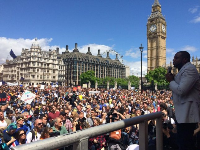 British Member of Parliament David Lammy addressed thousands of protestors during the March for Europe rally against the UK's referendum decision to leave the European Union. The protest, which was largely organized online, sought to prevent the government from triggering Article 50 to begin the UK's formal withdrawal process from the EU. Photo courtesy of David Lammy/Twitter