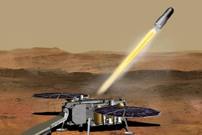 An illustration shows how the NASA Mars Ascent Vehicle, carrying rock and soil samples, could be launched from the surface of Mars in one step of the Mars sample return mission. Photo by JPL-Caltech/NASA