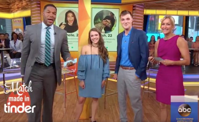 A couple that messaged each other on Tinder for three years, finally met for the first time on the set of Good Morning America on Tuesday. Screen capture/Good Morning America/Facebook