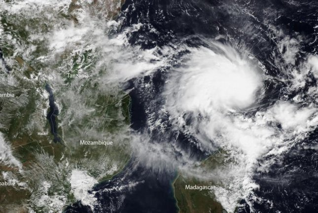 Tropical Cyclone Kenneth is seen off the coast of eastern Africa Wednesday. The storm arrived late Thursday and is the strongest on record to hit Mozambique. Image courtesy NOAA