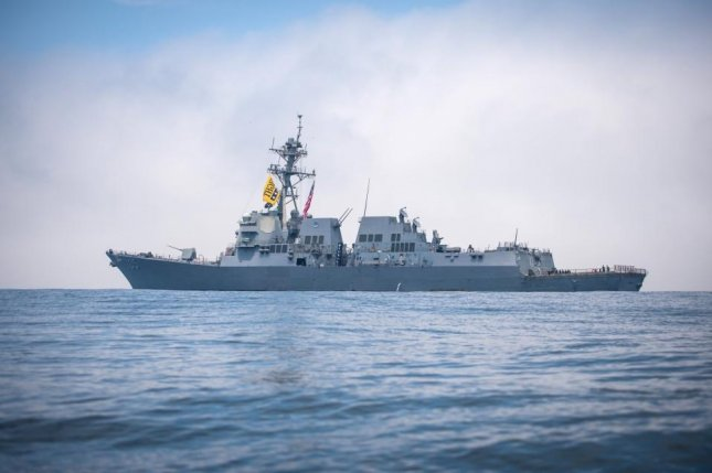 The guided-missile destroyer USS Dewey (DDG 105) transits the Pacific Ocean while underway in the U.S. 3rd Fleet area of operations. Photo by Devin M. Langer/U.S. Navy