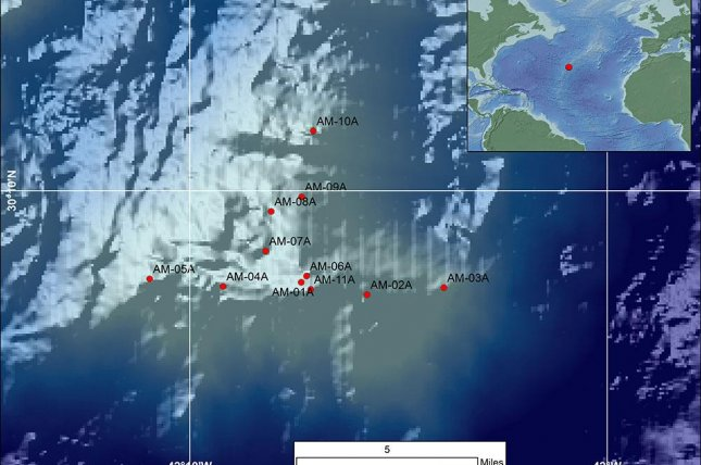 A map of the drill sites where scientists on the Atlantis Massif Serpentinization and Life expedition collected rock samples from the shallow mantle of the ocean crust. Photo by ECORD/Bigelow