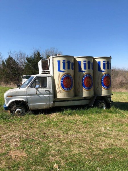 This vintage Miller Lite delivery truck, which was converted from a Ford Econoline truck, was listed for sale in St. Joseph, Mo., with an asking price of $2,500. Photo by Al Jackson/Facebook Marketplace