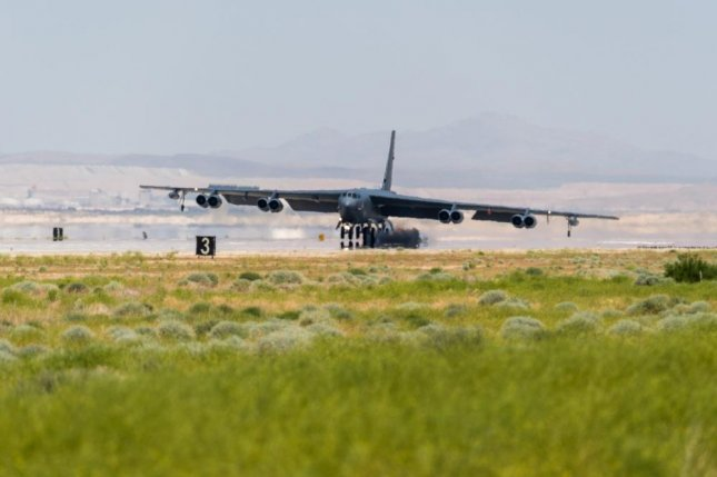 U.S. Air Force Test Pilot School students conduct a qualitative evaluation flight on a B-52 Stratofortress at Edwards Air Force Base, California, May 8. Photo by Ethan Wagner/U.S. Air Force