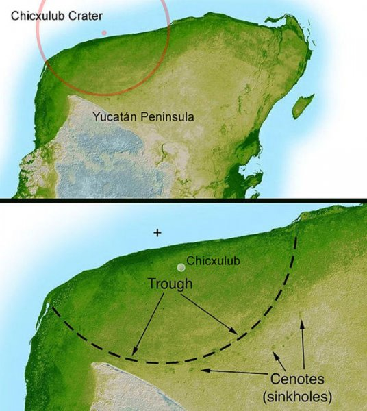 Illustration showing extent of Chicxulub crater in Mexico. Credit: NASA/JPL-Caltech