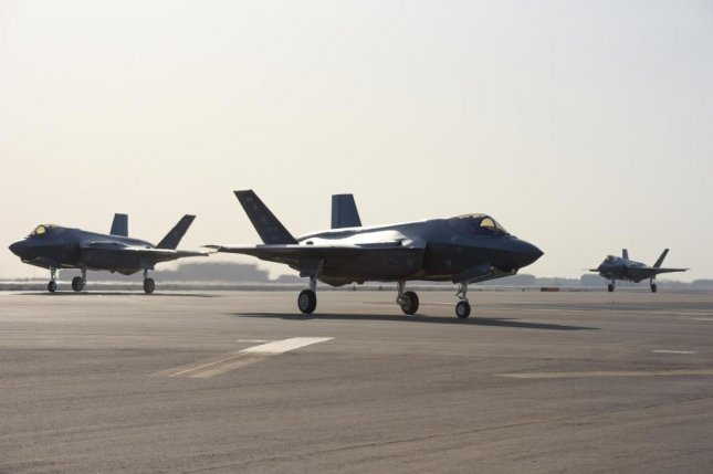 Three F-35A Lightning IIs taxi after landing at Al Dhafra Air Base, United Arab Emirates, on April 15, 2019. Spare parts shortages have led to groundings of the aircraft, and questions from Congress. Photo by Staff Sgt. Chris Thornbury/U.S. Air Force