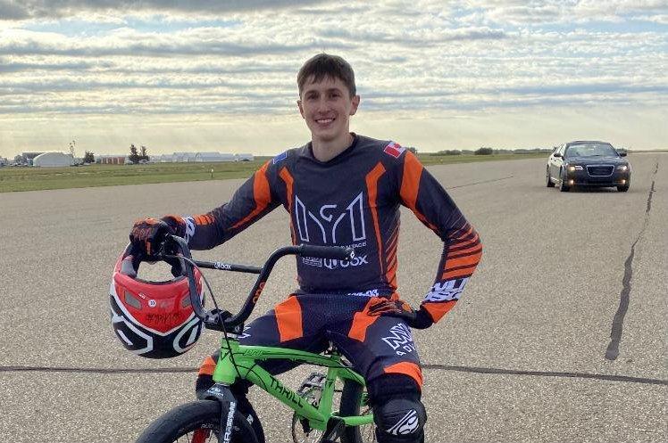 Max Ganakovsky of Calgary, Alberta, broke a Guinness World Record for longest manual trick on his bike. Photo courtesy of Guinness World Records