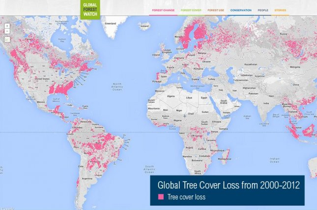 Global tree loss from 2000-2012 (Global Forest Watch)