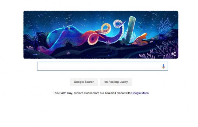 The Google Doodle for Earth Day, April 22, 2016, consists of five different illustrations highlighting the planet's biomes including the tundra, forest, grasslands, desert, and coral reefs. Images by Sophie Diao/Google.com