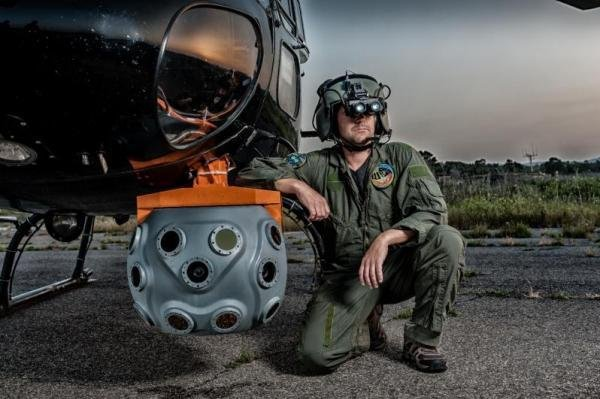 The BrightNite multi-spectral vision system (foreground) provides clear images to pilots in degraded visual environments. Photo courtesy Elbit Systems