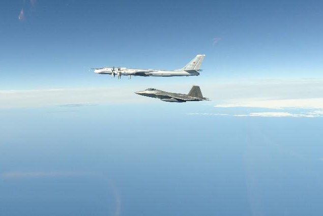 A NORAD F-22 fighter plane intercepted a Russian Tu-95 bomber near Alaska on Tuesday. The two incidents on Tuesday marked the seventh and eighth such intercepts in 2020. Photo courtesy of NORAD