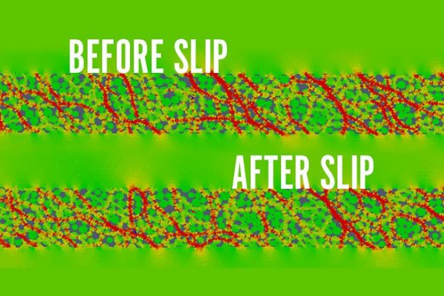 The illustration shows the before and after simulations of the collapse of a stress chain in the wake of a laboratory earthquake. Photo by Los Alamos National Laboratory