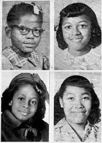 The four girls killed during the 16th Street Baptist Church bombing on September 15, 1963. Clockwise from top left: Addie Mae Collins, 14, Cynthia Wesley, 14, Carole Robertson, 14, and Denise McNair, 11. Photo via Wikipedia