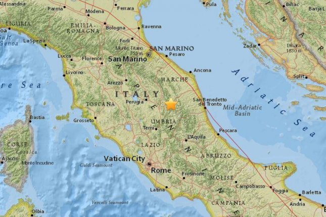 A 4.8-magnitude earthquake struck central Italy on Thursday, the U.S. Geological Survey said. Central Italy has been dealing with persistent quakes and aftershocks since the Aug. 24 quake near Amatrice that killed nearly 300 people and injured more than 350. Image courtesy of U.S. Geological Survey