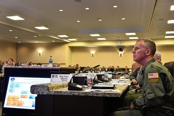 Maj. Gen. Lawrence Martin, assistant deputy under Secretary of the Air Force for Internal Affairs, at the annual Air Crew Summit at Joint Base Andrews in Maryland. U.S. Air Force photo by Scott M. Ash
