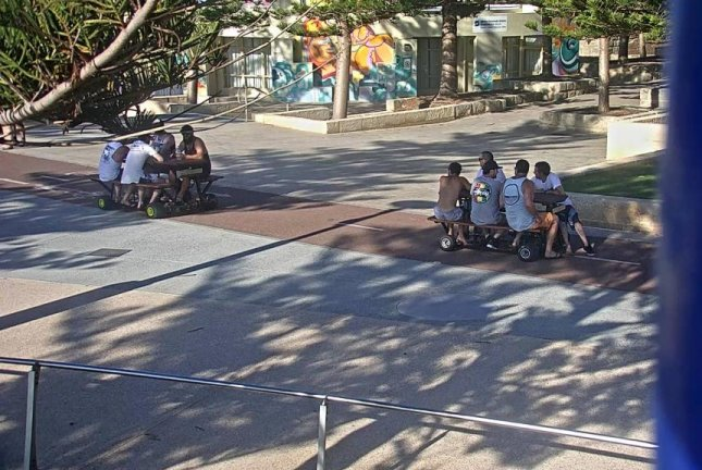 Two motorized picnic tables were seen driving on roads in Scarborough, Australia. Photo courtesy Western Australia Police/Facebook