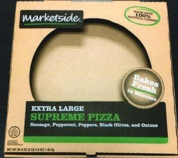 Pizzas marketed as 16-inch Marketside Extra Large Supreme Pizza were recalled by their manufacturer due to a possible listeria contamination, the U.S. Agriculture Department's Food Safety and Inspection Service announced Wednesday. Image courtesy of USDA FSIS