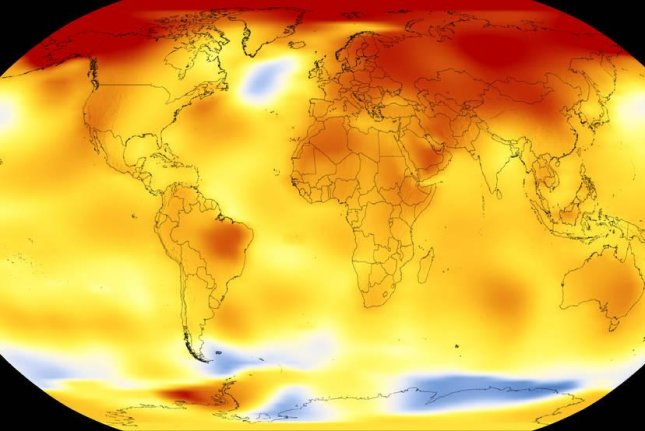 The map shows Earth's average global temperature from 2013 to 2017 relative to the baseline average measured between 1951 and 1980. Yellows, oranges, and reds reveal the parts of the planet that were warmer than the baseline. Photo by NASA's Scientific Visualization Studio