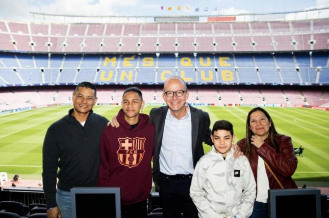 Anthony Borges (second from left) is credited with saving the lives of 20 students during a shooting on Feb. 14, 2018, at Marjory Stoneman Douglas High School in Parkland, Fla. He arrived in Barcelona on Tuesday to visit with his favorite soccer team, FC Barcelona. Photo courtesy of FC Barcelona/Twitter