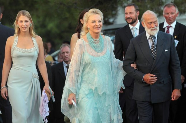 Left to right, Lady Gabriella Windsor and her parents Prince and Princess Michael of Kent are seen attending a wedding in Greece in 2010. Gabriella married Thomas Kingston in England on Saturday. File Photo by Orestis Panagiotou/EPA