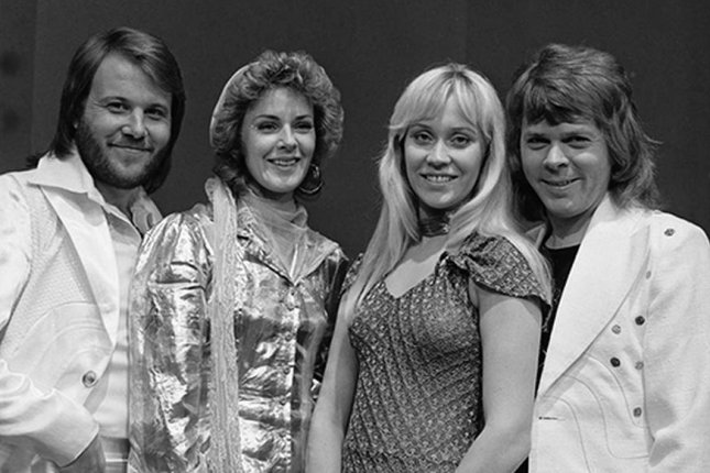 ABBA in AVRO's TopPop in April 1974, on their way to winning the Eurovision Song Contest. From left to right, Benny Andersson, Anni-Frid Lyngstad, Agnetha Faltskog and Bjorn Ulvaeus.