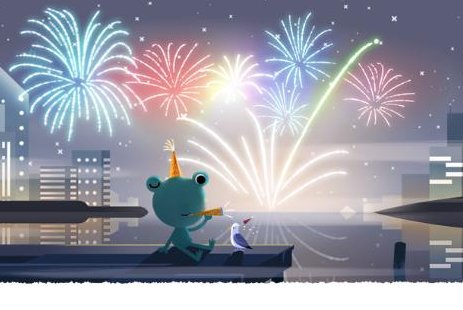 Google welcomes 2020 with a new, festive Doodle that features Froggy, the weather frog. Image courtesy of Google