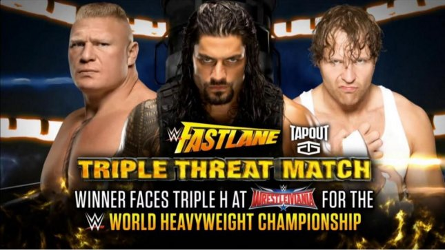 (L-R) Brock Lesnar, Roman Reigns and Dean Ambrose battled it out in a brutal triple threat match to determine the number one contender for the Triple H's WWE World Heavyweight Championship at WWE Fastlane. Photo courtesy of WWE/Twitter