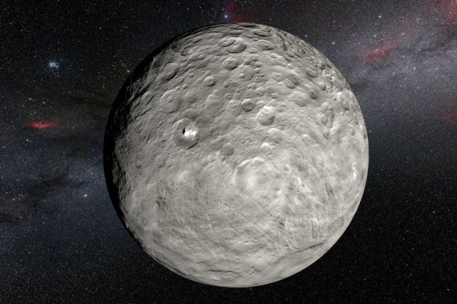 A rendering reveals a few of the Ceres bright spots first discovered by NASA's Dawn spacecraft. Photo by ESO