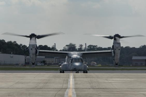 An MV-22 Osprey with Marine Medium Tiltrotor Squadron 264, 22nd Marine Expeditionary Unit taxis down the flight line at Marine Corps Air Station New River, N.C., on July 13, 2018. Photo by Cpl. Aaron Henson/22nd Marine Expeditionary Unit/U.S. Marine Corps