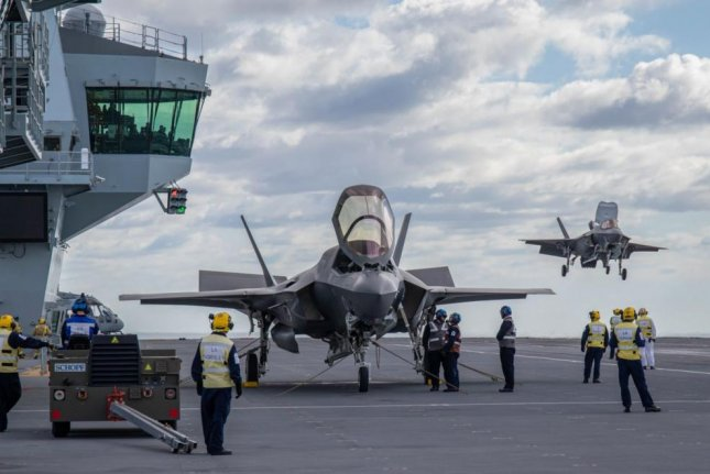A British F-35B aboard the HMS Queen Elizabeth prepares for takeoff last weekend. Photo courtesy of British Ministry of Defense