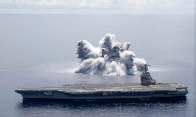 The aircraft carrier USS Gerald R. Ford completed Full Ship Shock Trials, involving the detonation of explosives, on Friday. Photo courtesy of U.S. Navy
