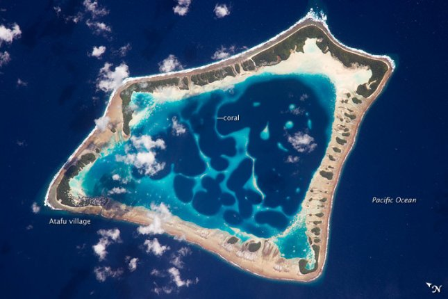 Atafu Atoll is the smallest of three atolls and one island comprising the Tokelau Islands group located in the southern Pacific Ocean. Credit: NASA